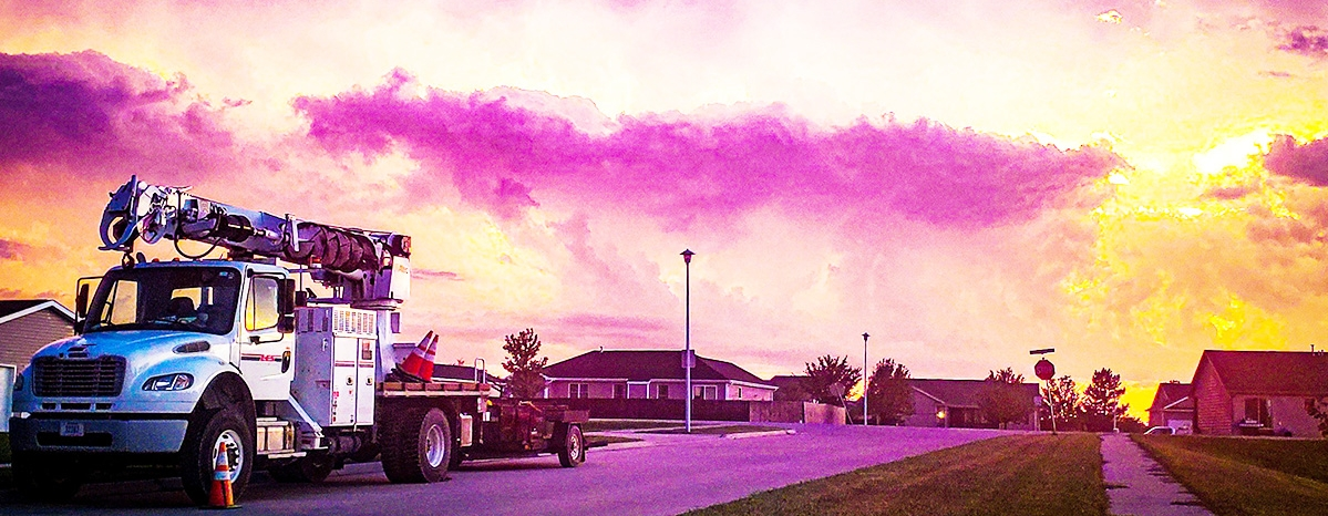 LES truck and beautiful sky after a storm